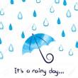 55559866-雨の日の背景。水彩ベクトル雨と傘のイラスト。
